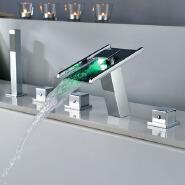 China Hot Sale 5 Pcs Set 3 Color Led Bath&Shower Faucet Bathroom Bathtub Tap Mixer Robinet