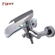 Fyeer Fashion Glass Water Channel Bathroom Bath Faucet with Diverter