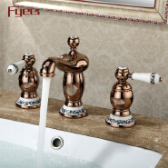 Fyeer Deck Mounted Rose Gold Brass Body Bahtub Filler with Ceramic Handle