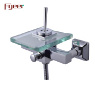 Fyeer Single Lever Handle Bathroom Wall Glass Bathtub Shower Faucet with Diverter