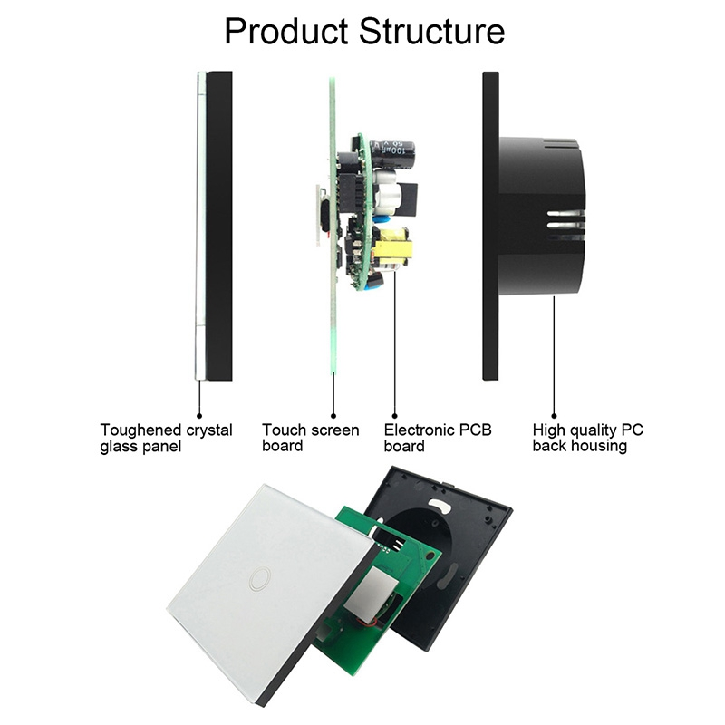 US Smart Wifi Wall Touch Switch 1/2/3 Gang Glass Panel light Switch Black/white smart home