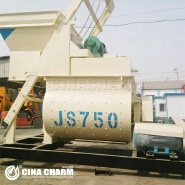 JS750 mini electric high quality manual concrete mixer price 750 Litres twin shaft stationary concrete mixer