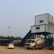 HZS60 control system advanced ready mixed stationary type process flow small concrete batching plant