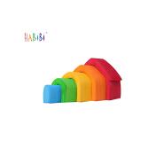 Eco-Friendly Rainbow Wooden Stacker 6-piece Montessori Educational Kids Toys Rainbow Stacker Building Blocks