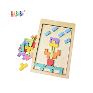 Brain Teasers Toy Russian Blocks Game Wooden Tetris Puzzle Baby wood logic puzzle