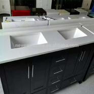 Quartz Countertop for Artificial White Quartz Stone Bathroom Mirror Vanity Cabinet