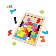 Brain Teasers Toy Russian Blocks Game Wooden Tetris Puzzle Baby Wood Puzzle