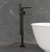Matte Black Stand bathtub Floor Standing Bath Faucet Tap Mixer Shower