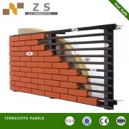 Terracotta brick slips with dry hanging system , terracotta fasade decoration klinker tiles