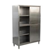 Commercial stainless steel 201 / 304 Sliding door restaurant kitchen cabinet for adjustable feet