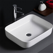 509 Smooth surface white glaze fancy rectangle cheap ceramic bathroom sink for restaurant