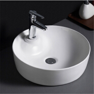 503 Single faucet hold fancy table mounted round ceramic wash basin