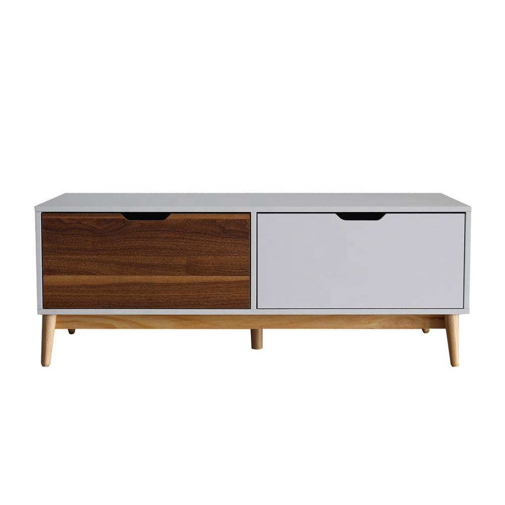 white rectangle simple fashion wood side smart coffee table set