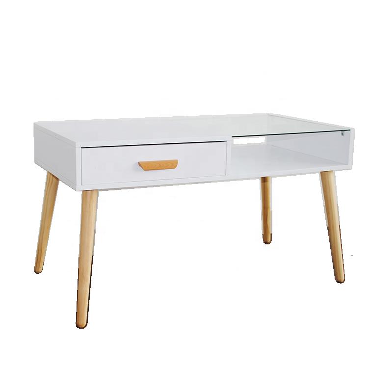 modern glass coffee table design in melamine living room for sale