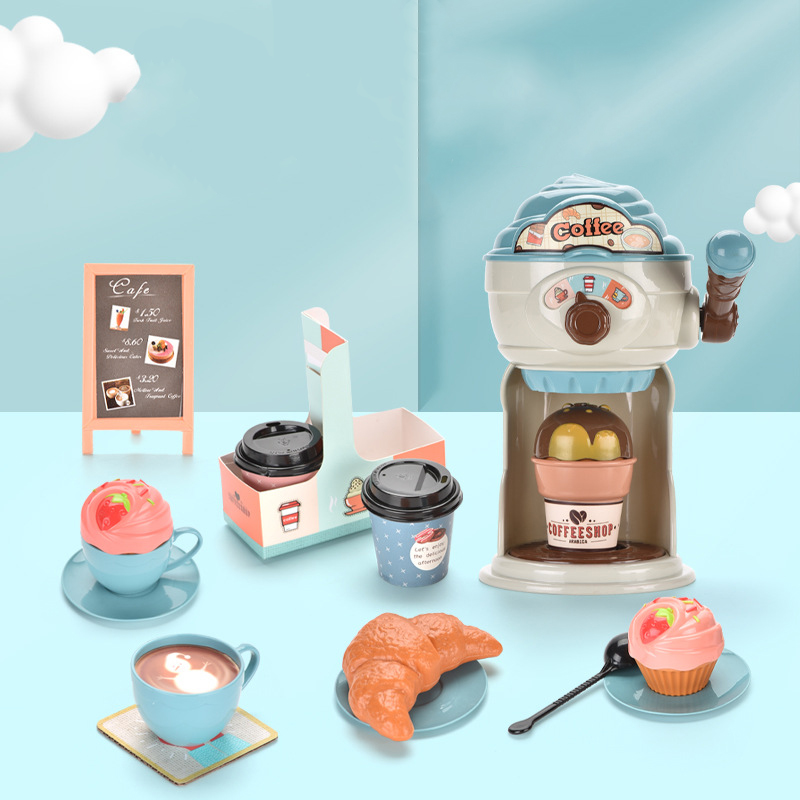 Hot Sell Educational Simulation Coffee Machine Play House Kitchen Toy Mini Children Toy Set