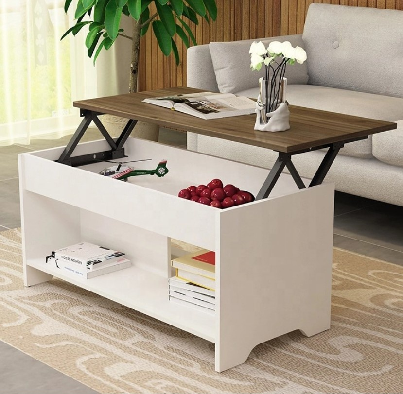 Home Living Room Modern Lift Up Top Coffee Table with Storage Hidden Compartment