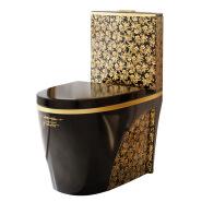 Sanitary Ware Golden Color Wc Set Commode Bowl And Black Flush Button Bidet Bathroom Gold Toilet