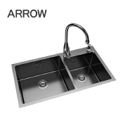 modern brush SUS 304 double kitchen sink fancy top counter commercial kitchen stainless sink