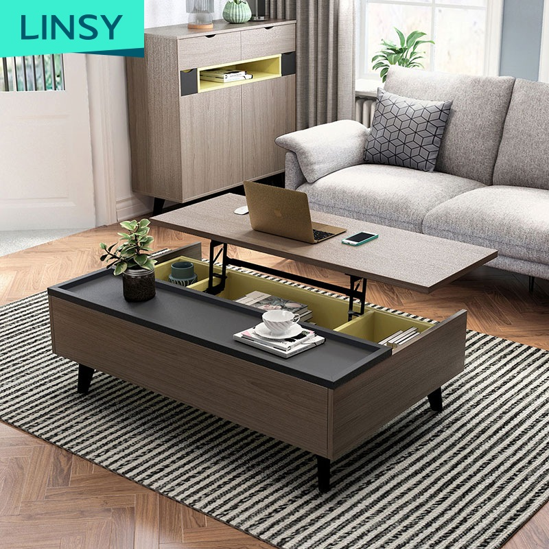 Lift Top Modern Designer Wooden Coffee Table Sets For Living Room