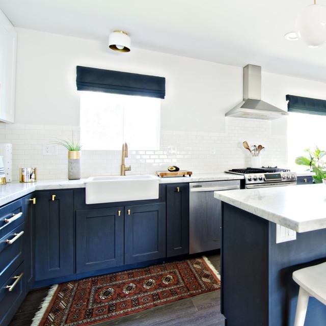 Cheap American modern blue shaker wooden kitchen cabinet