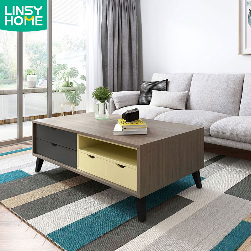Cheap Modern Nordic Nesting Oak Wooden Coffee Table With Drawers