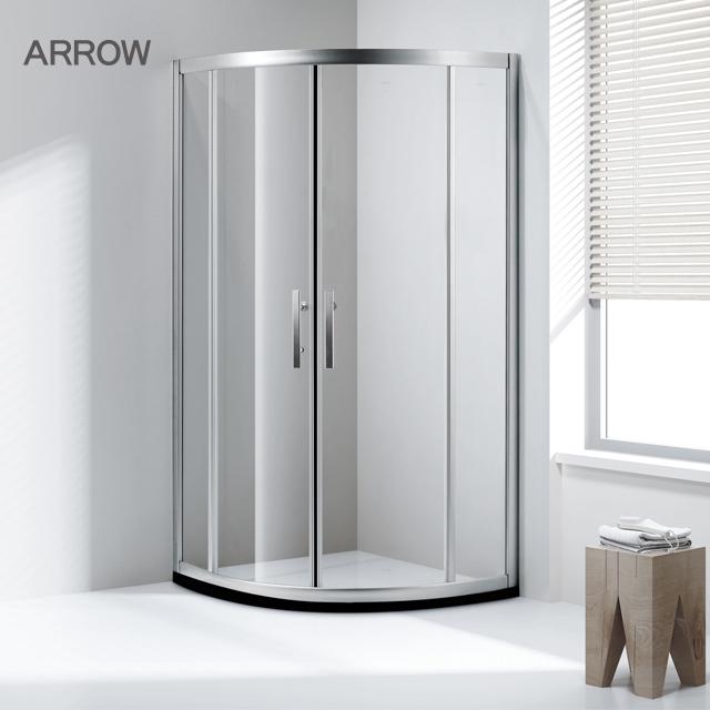 ARROW brand customized simple diamond like arc tempered glass bathroom air shower room
