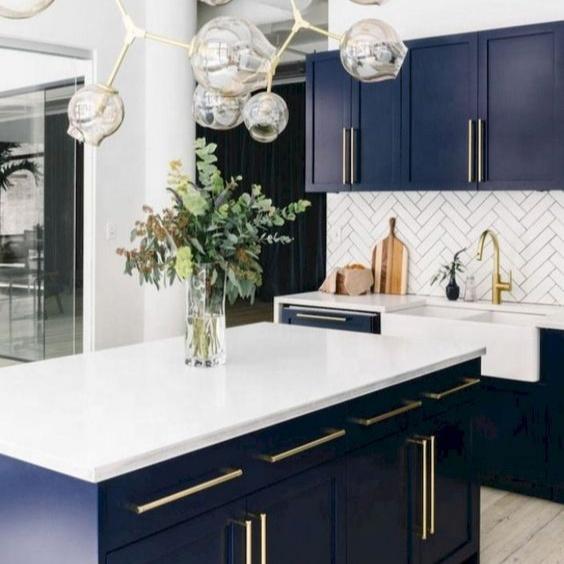 Solid wood American standard framed blue shaker modern kitchen cabinet