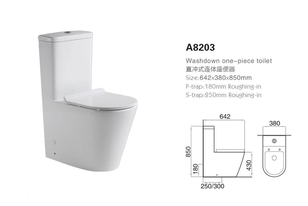 ceramics washdown sanitary ware one piece toilet with P/S- trap