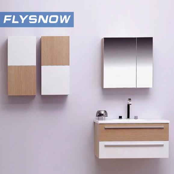 European Modern Design PVC laminate Bathroom Vanity with Mirror Cabinets