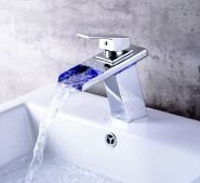 Waterfall Taps Basin Temperature Sensitive Light Concealed Led Faucet