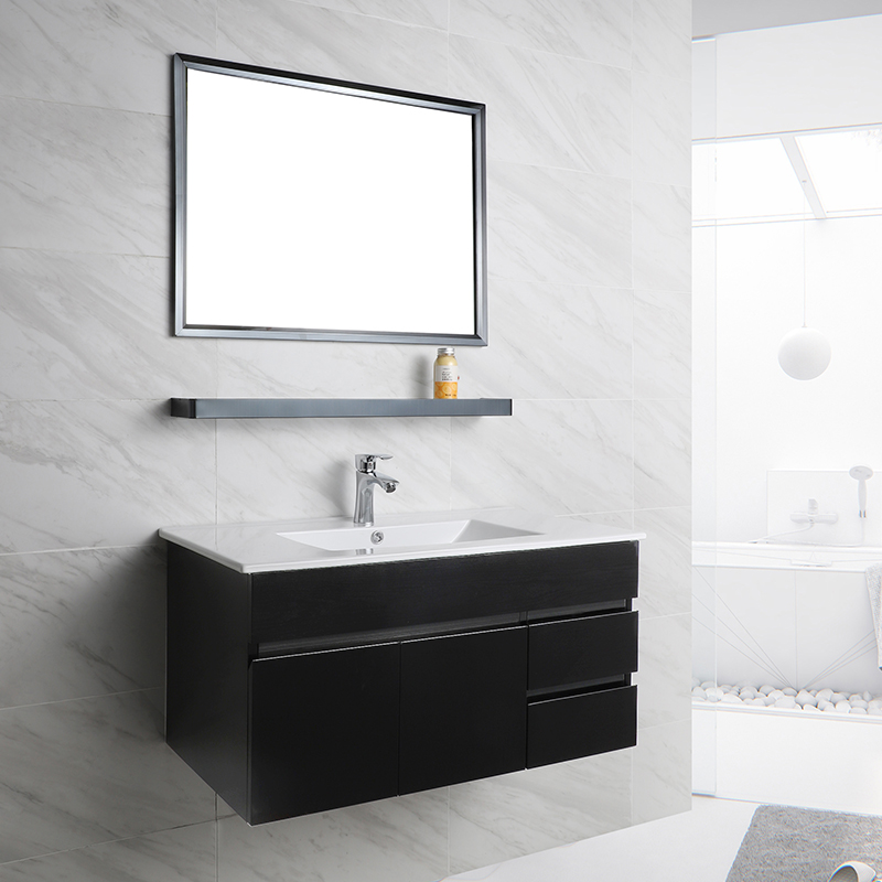 Factory Whole Sale Wall Mounted Waterproof 90CM Stainless Steel Bathroom Vanity Cabinets with Drawers T-5005