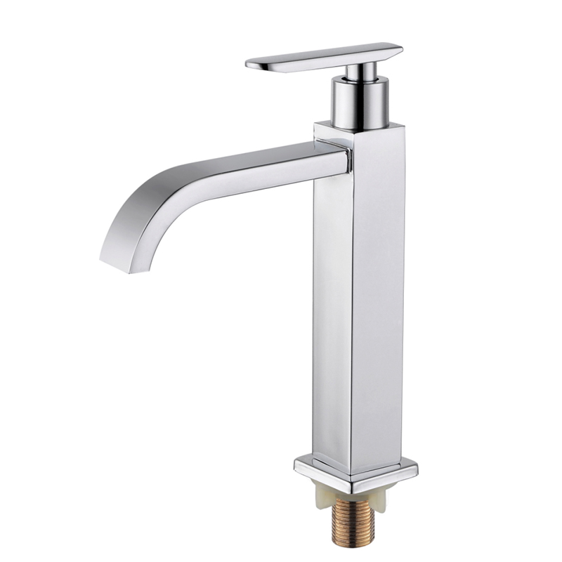 China Sus 304 Basin Stainless Steel Water Tap Ss Square Sink Single Handle Bathroom Cold Shower Mixer Taps Faucet