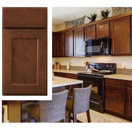 American modern espresso shaker wood kitchen cabinet