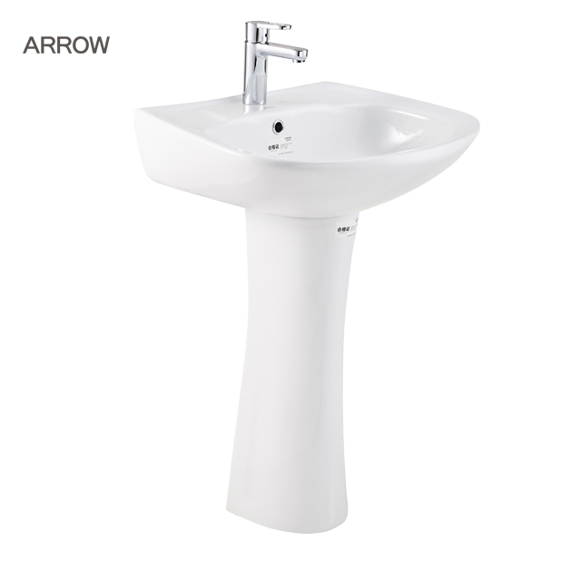 ARROW Brand Ceramic chinese round shape pedestal bathroom sink wash basin