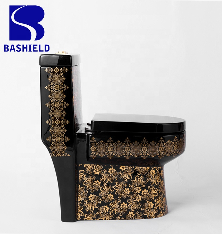 A-8992B BLACK AND GOLD LUXURY ROUND DESIGN ROYAL BATHROOM ONE PIECE TOILET WATER CLOSET FACTORY WHOLESALE PRICE
