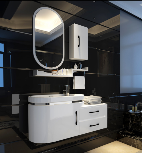 Pvc Bathroom Sink and Cabinet Combo Modern Design Made In China