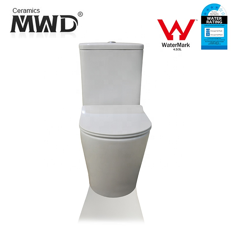 Toilet Manufacturer P-trap Floor Mounted Rimless Two Piece Australian Round Shape Toilet