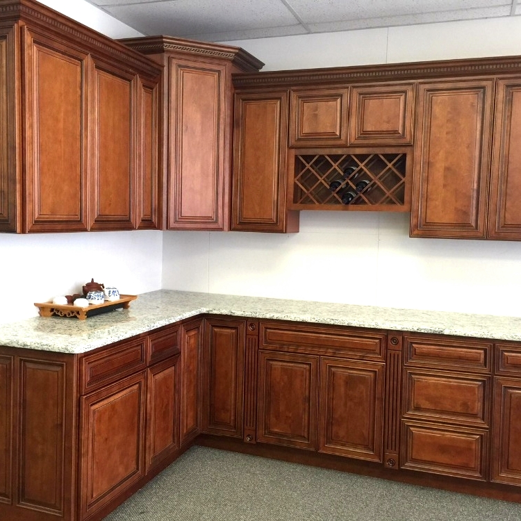 RTA factory direct mocha painted raised panel style solid wood kitchen cabinet