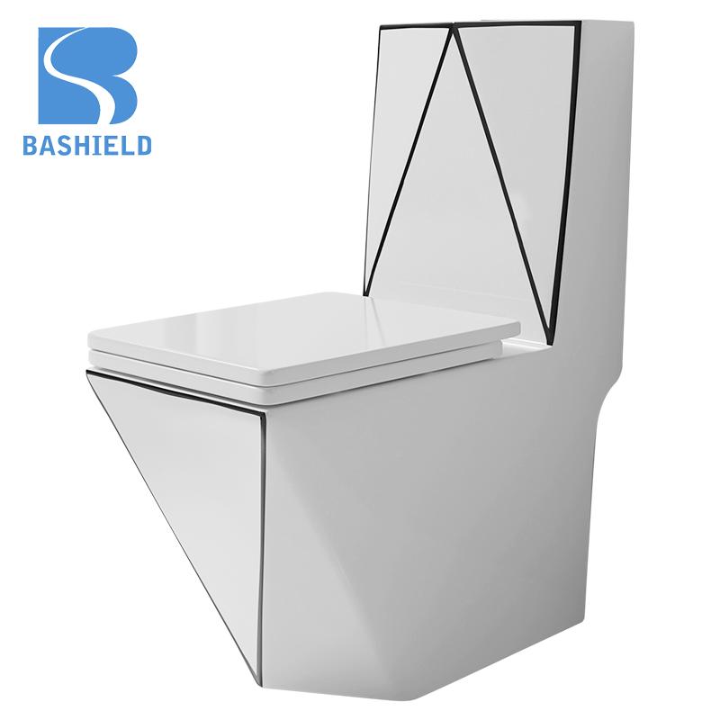 2020 diamond shape bathroom toilet Washdown one piece toilet Siphonic water close set simple design INS design BM1027-B