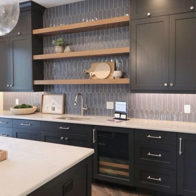 Solid wood framed black shaker modern kitchen cabinet