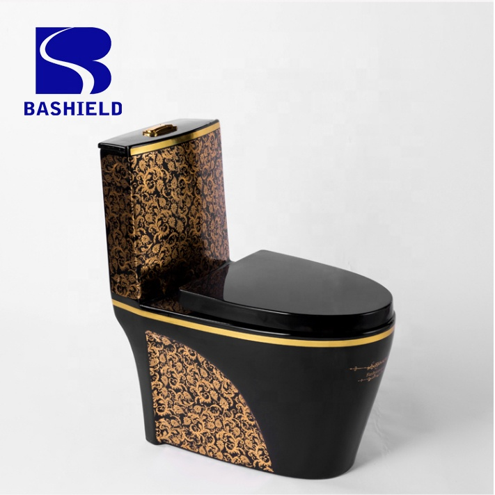 A-8991A BLACK AND GOLD LUXURY DESIGN ROYAL BATHROOM ONE PIECE TOILET WATER CLOSET FACTORY WHOLESALE PRICE
