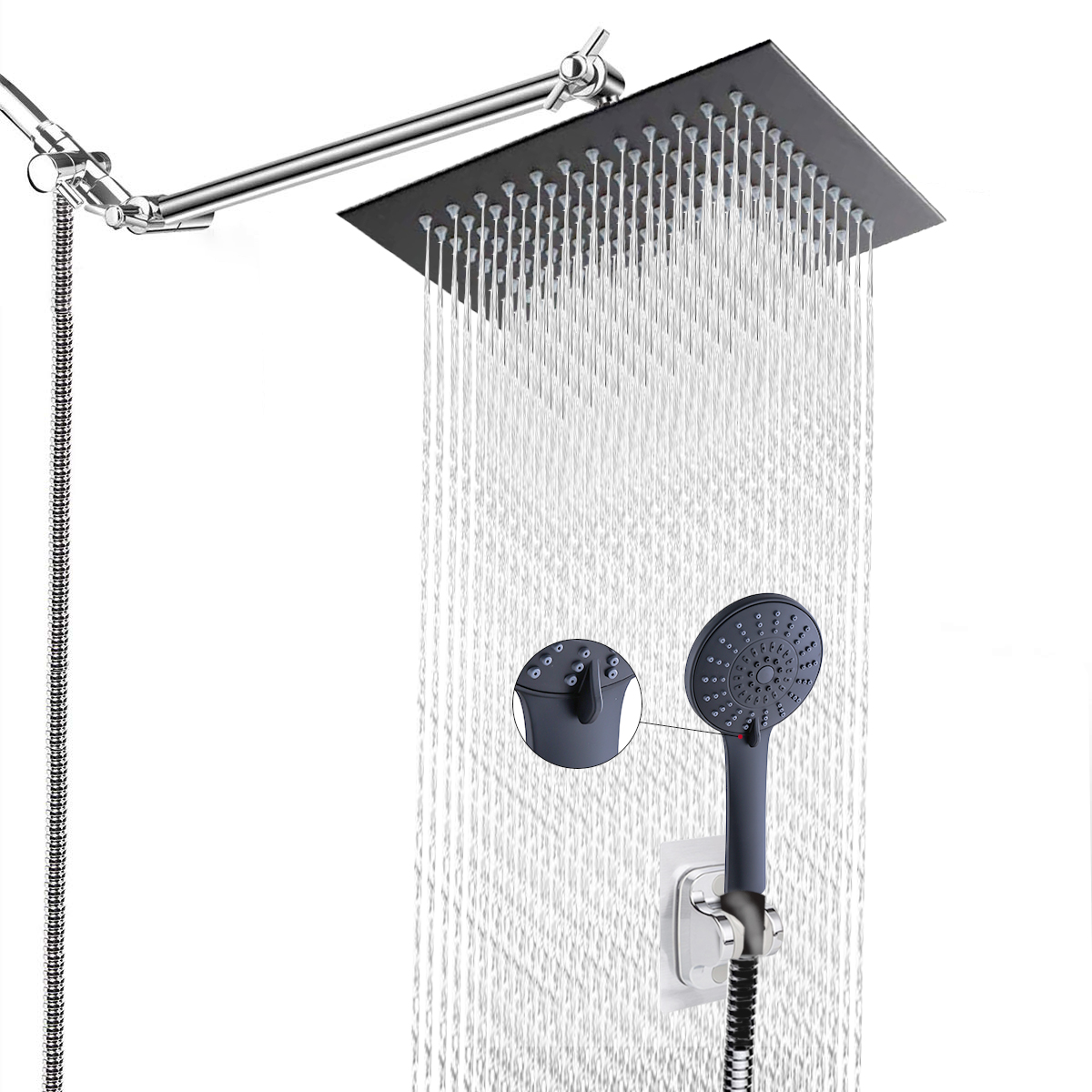Bathroom shower combo stainless steel square top toilet shower set