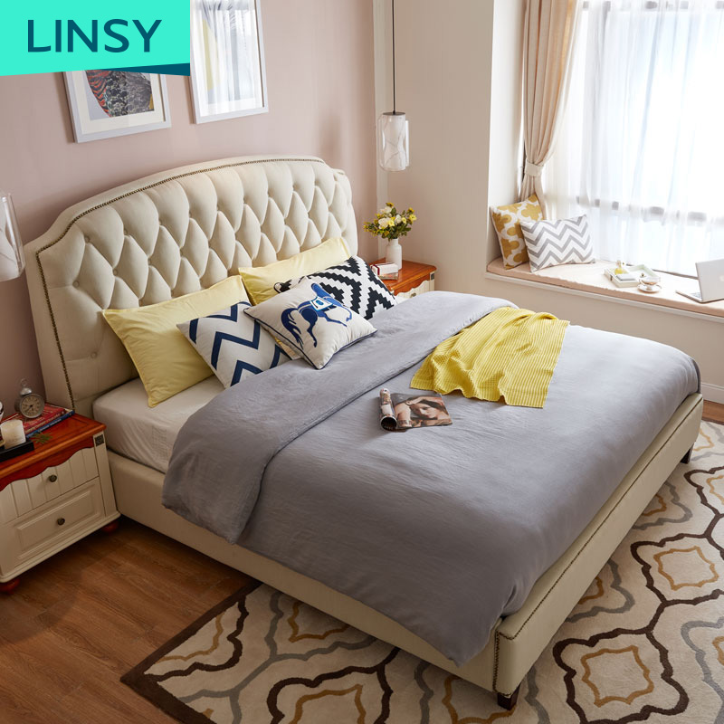 European Style King Size Bed Bedroom Design Furniture Wooden Fabric Beds With Storage