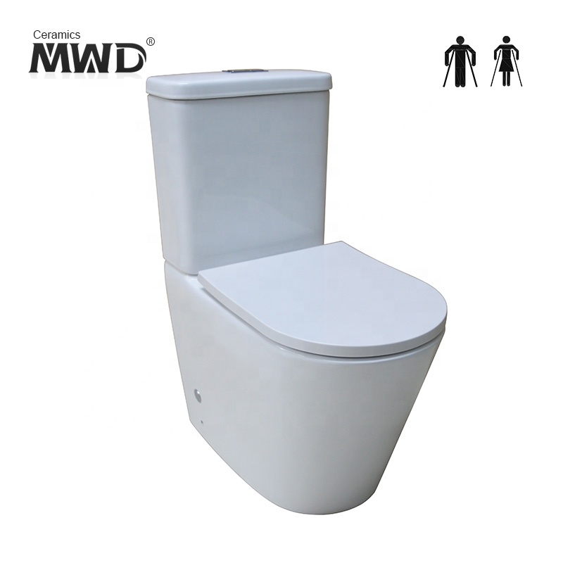 Bathroom WC dual flush waterless rimless back to wall toilet A3314