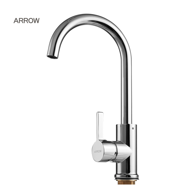 ARROW brand hot cold water Single Handle Single Hole plated copper faucet for kitchen sink