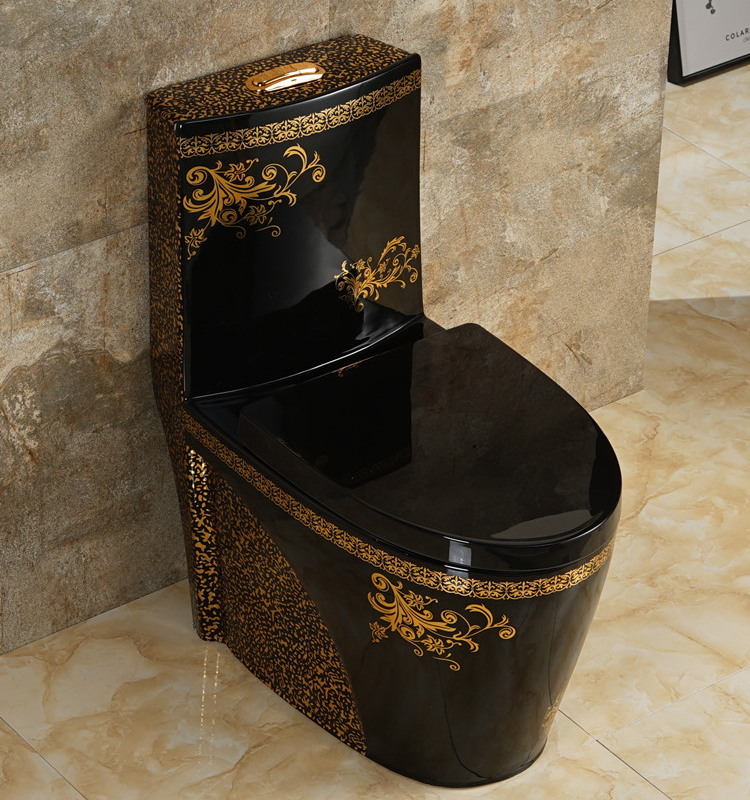 688 GILDED ONE PIECE CERAMIC WATER CLOSET WITH PURPLE BLACK GOLDEN AND OTHER CUSTOMIZED COLORS
