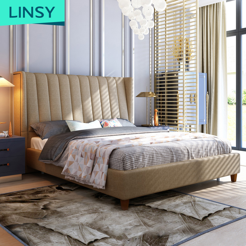 European Style Room Wood Double Bed And Mattress Set Design Upholstered Fabric Bed