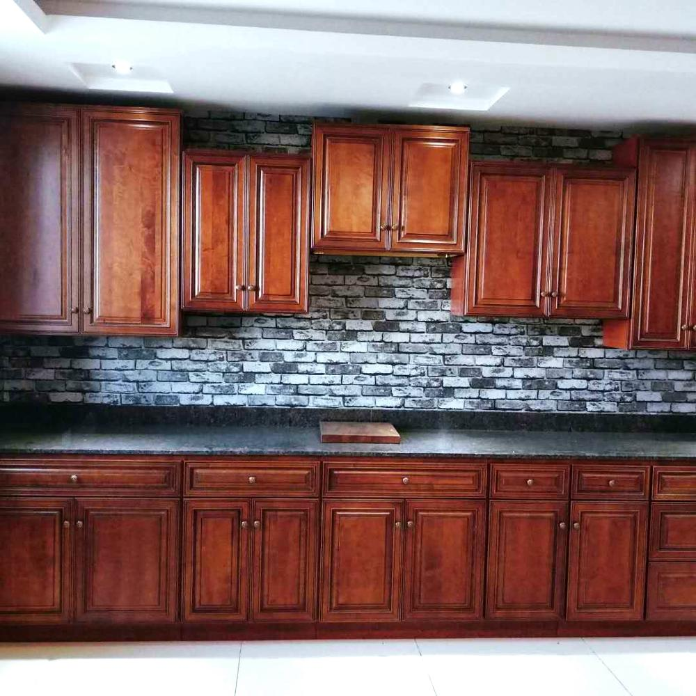Traditional rasied panel mocha painted solid wood kitchen cabinet designs