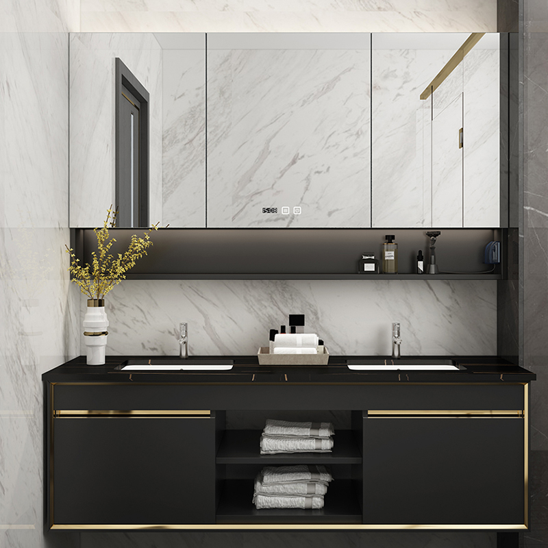 New Design Mideast style Hotel Double Sink Vanity set with LED lighted in bathroom