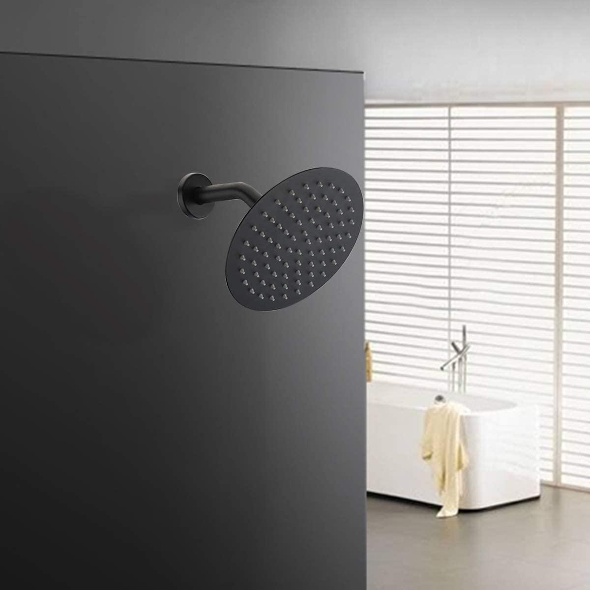Shower head matching 8 inch round top black toilet shower set